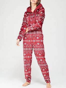 hunkemoller-fluffy-fleece-fairisle-all-in-one-red