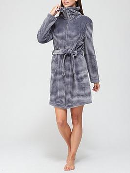 hunkemoller-zip-fleece-embossed-rib-robe-silver