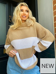 in-the-style-in-the-style-x-billie-faiersnbspstripe-roll-neck-jumper-stone