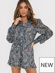 in-the-style-in-the-style-x-billie-faiersnbsppaisley-print-high-neck-playsuit-bluenbsp