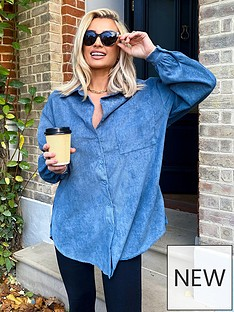 in-the-style-in-the-style-x-billie-faiersnbspcord-shirt--nbspblue