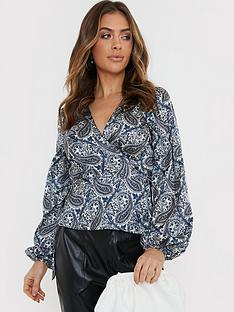 in-the-style-in-the-style-x-billie-faiers-paisley-print-balloon-sleeve-blouse-blue