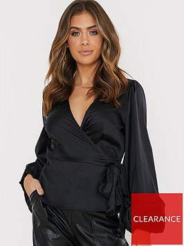 in-the-style-in-the-style-x-billie-faiersnbspballoon-sleeve-blouse-black