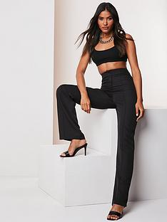 missguided-missguided-co-ord-seam-detail-straight-leg-trousers-black