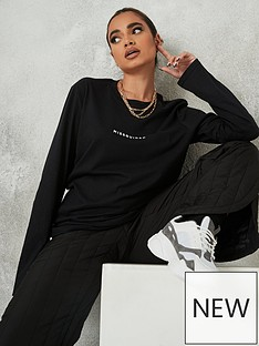 missguided-missguided-long-sleeve-crew-neck-t-shirt-black