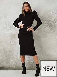 missguided-textured-puff-sleeve-midaxi-dress-black