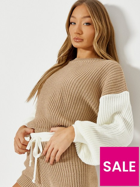 missguided-missguided-colourblock-jumper-co-ord-stone