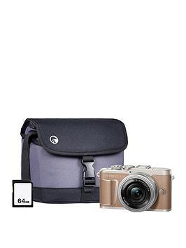 olympus-pen-e-pl10-brown-camera-kit-withnbsp14-42-ez-pancake-lens-64gb-sd-card-amp-bag
