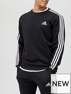 adidas-3-stripe-fleece-sweat-top-blackwhite
