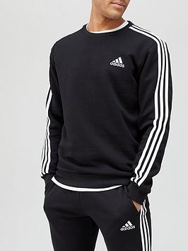 adidas-3-stripe-fleece-sweat-top-blackwhite