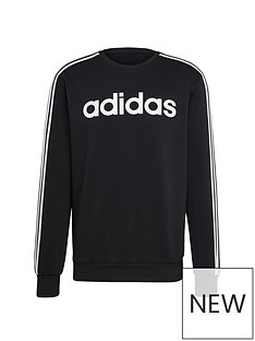 adidas-plus-size-essential-3-stripe-crew-sweat-black