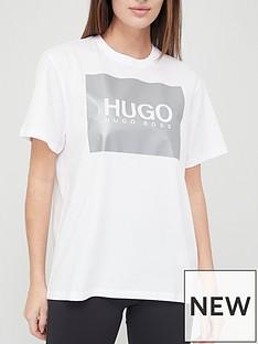 hugo-metallic-logo-t-shirt-whitenbsp