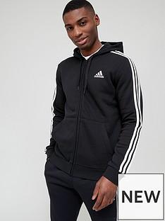 adidas-3-stripe-fleece-full-zip-hoodie--nbspblack