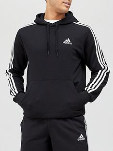 adidas-3-stripe-fleece-hoodie-black