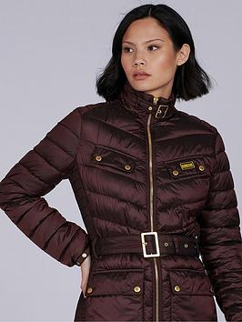 Barbour International Gleann Quilted Jacket - Brown, Brown, Size 14, Women