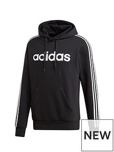 adidas-plus-size-essential-3-stripe-hoodie-black