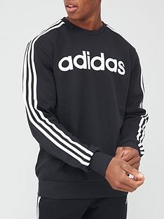adidas-essential-3-stripes-crew-sweat-black