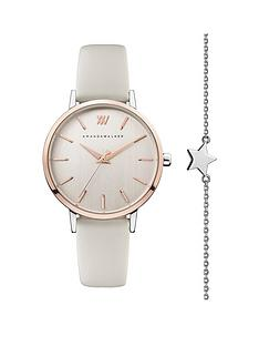 amanda-walker-amanda-walker-blush-and-rose-gold-detail-dial-nude-leather-strap-ladies-watch-and-star-bracelet-gift-set