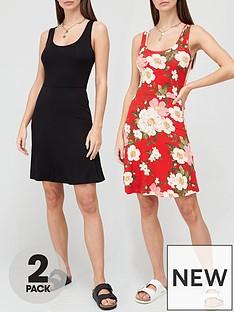 v-by-very-2-pack-sleeveless-skater-mini-dress-red-floralblack