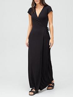 v-by-very-short-sleeve-wrap-jersey-maxi-dress-black