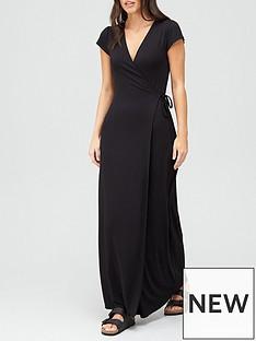 v-by-very-petite-short-sleeve-wrap-jersey-maxi-dress