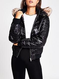 river-island-faux-fur-hood-high-shine-padded-bomber-jacket-black