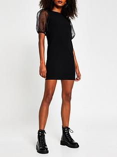 river-island-organza-sleeve-t-shirt-dress-black