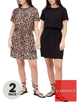 v-by-very-2-pack-jerseynbspchannel-waist-short-sleeve-mini-dress-black