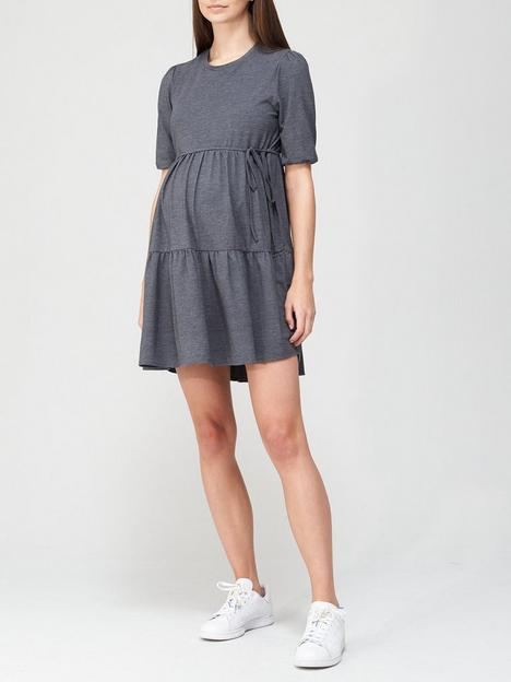 v-by-very-puff-sleeve-belted-maternity-dress-grey