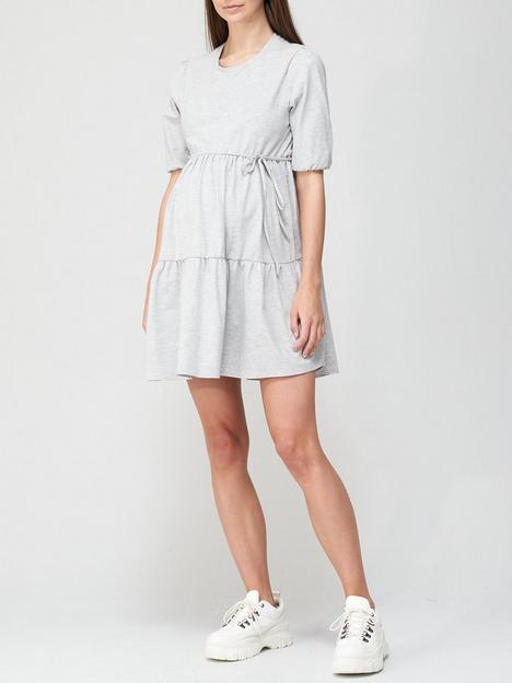 v-by-very-puff-sleeve-belted-maternity-dress-grey-marl