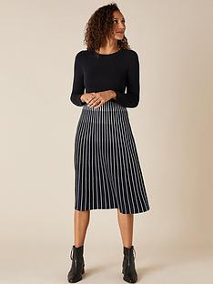 monsoon-contrast-colour-pleated-dress-navy