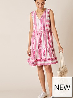 monsoon-woven-jacquard-dress-pink