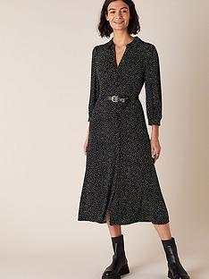 monsoon-ditsy-print-sustainable-shirt-dress-black