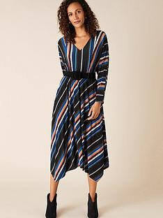 monsoon-stripe-print-midi-dress-black