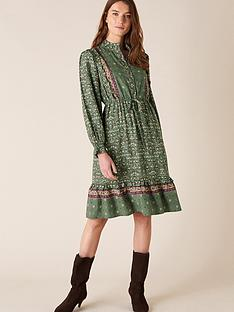 monsoon-print-short-dress-green
