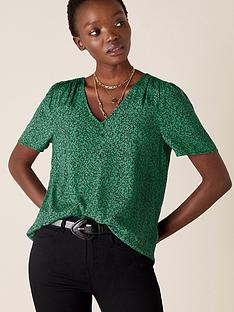monsoon-printed-v-neck-top-green