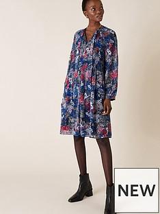 monsoon-pleated-print-short-dress-navy