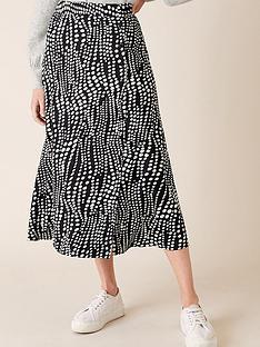 monsoon-spot-midi-skirt-black