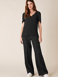 monsoon-button-front-v-neck-top-black
