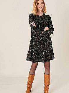 monsoon-spot-print-tiered-dress-black