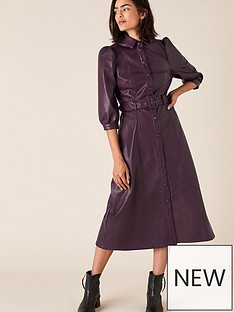 monsoon-recycled-pu-midi-dress-plum