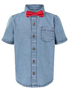 monsoon-boys-stripe-short-sleevenbspshirt-and-bow-tie-setnbsp--blue