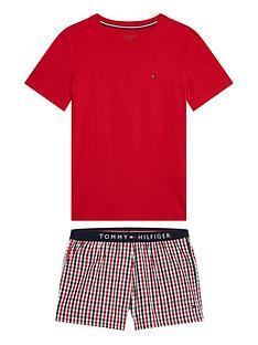 tommy-hilfiger-boys-woven-short-print-pj-set-red-check