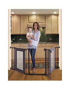 dreambaby-denver-3-panel-metal-adapta-gate-black-metal-with-grey-mesh-panels