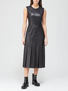 joseph-demry-pleated-leather-midi-dress-black