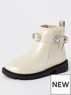 river-island-mini-mini-girls-gem-strap-boot-cream