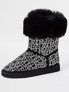 River Island Girls Embellished Faux Fur Boots - Black, Black, Size 2 Older