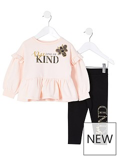 river-island-mini-mini-girls-bee-kind-top-and-legging-setnbsp-nbsppink