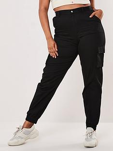 missguided-plus-missguided-plusnbspplain-cargo-trouser-black