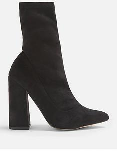 missguided-missguided-flared-heel-sock-boot-black
